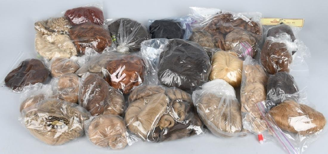 LARGE LOT of DOLL WIGS, HUMAN HAIR & MOHAIR