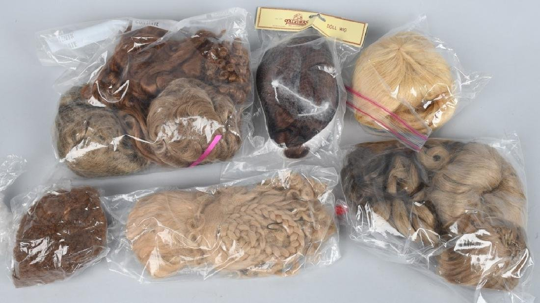 LARGE LOT of DOLL WIGS, HUMAN HAIR & MOHAIR - 4