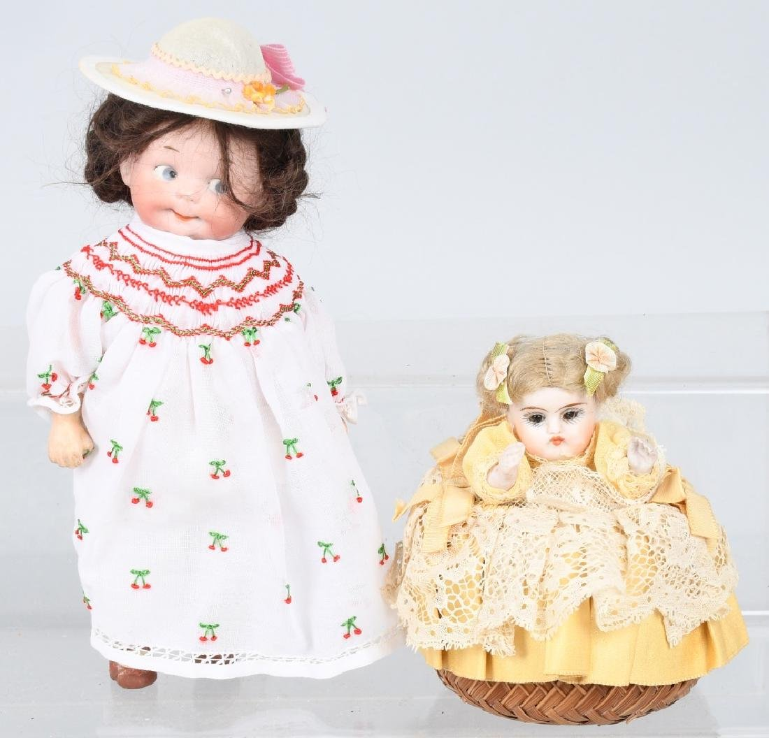 GERMAN BISQUE DOLL & DOLL PIN CUSHION