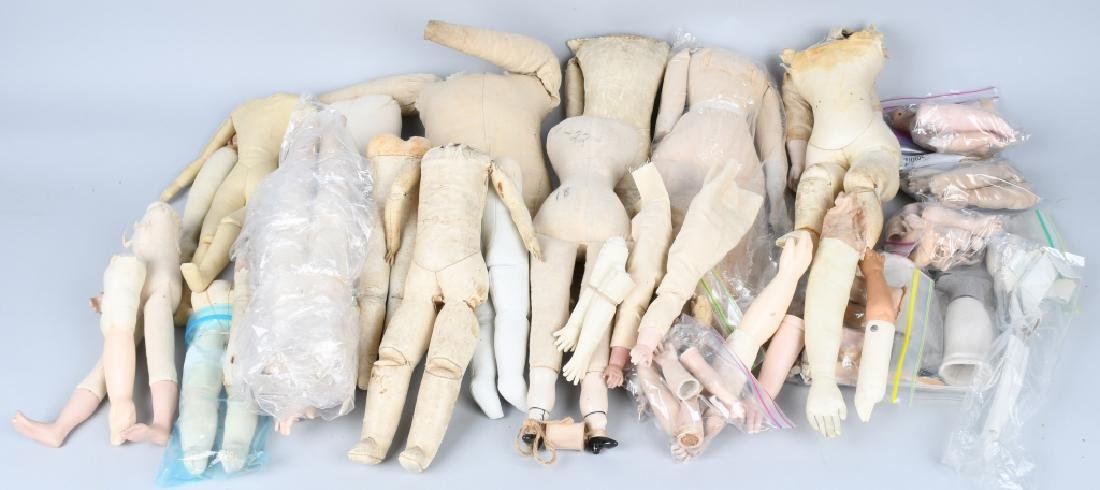 LARGE LOT VINTAGE KID and CLOTH DOLL BODIES