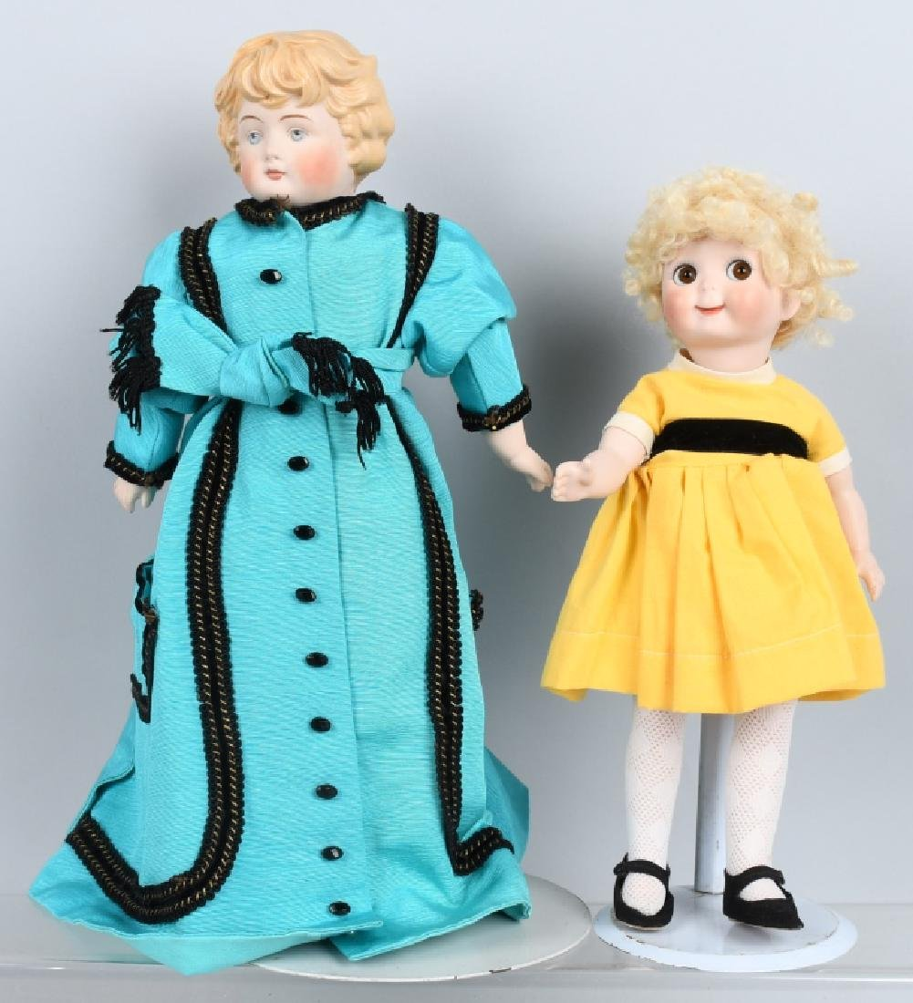 2-CONTEMPORARY BISQUE DOLLS, GOOGLY & MORE