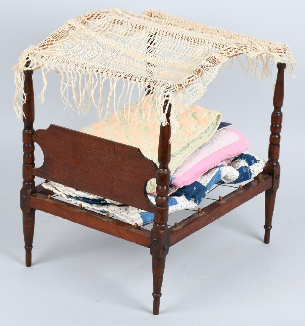 VINTAGE DOLL CANOPY ROPE BED w/ 7 QUILTS