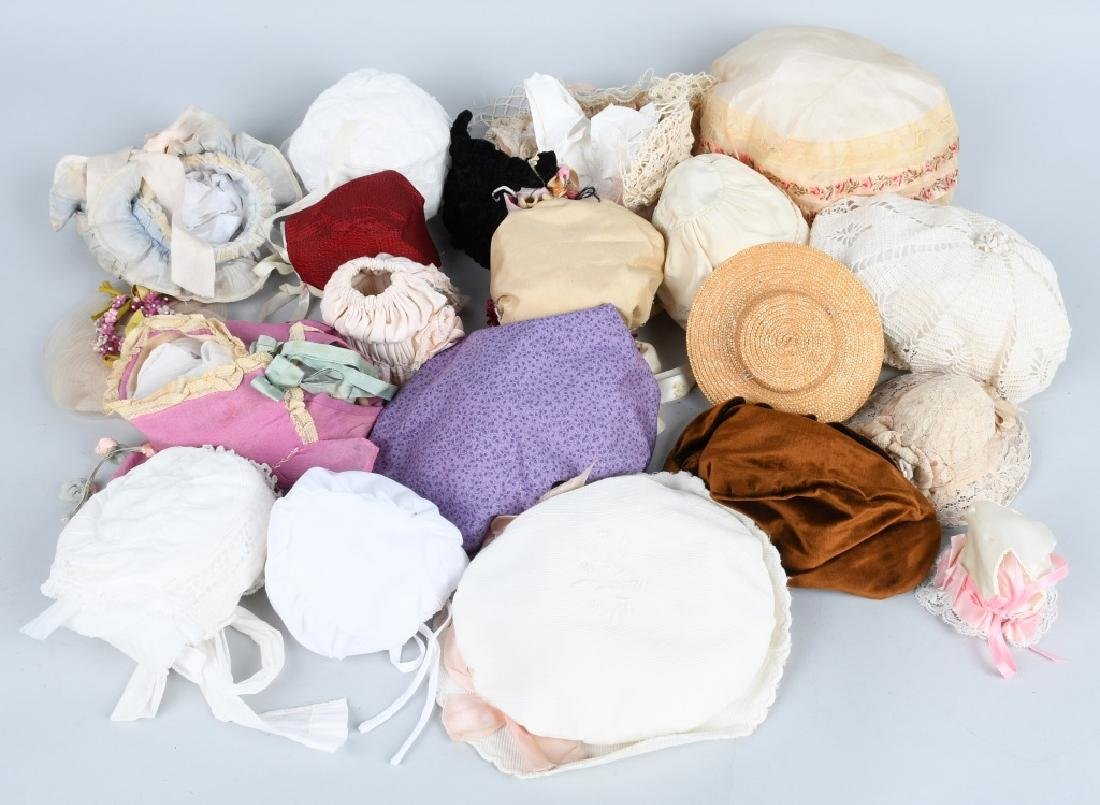 LARGE LOT VINTAGE DOLL BONNETS & HATS