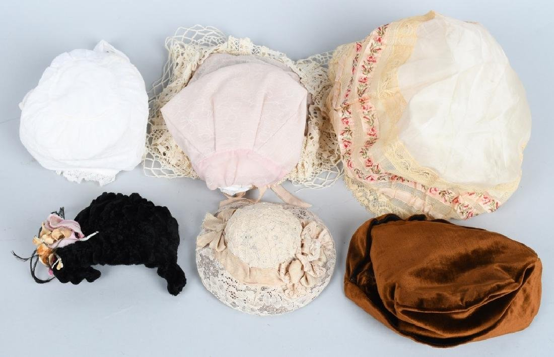 LARGE LOT VINTAGE DOLL BONNETS & HATS - 2