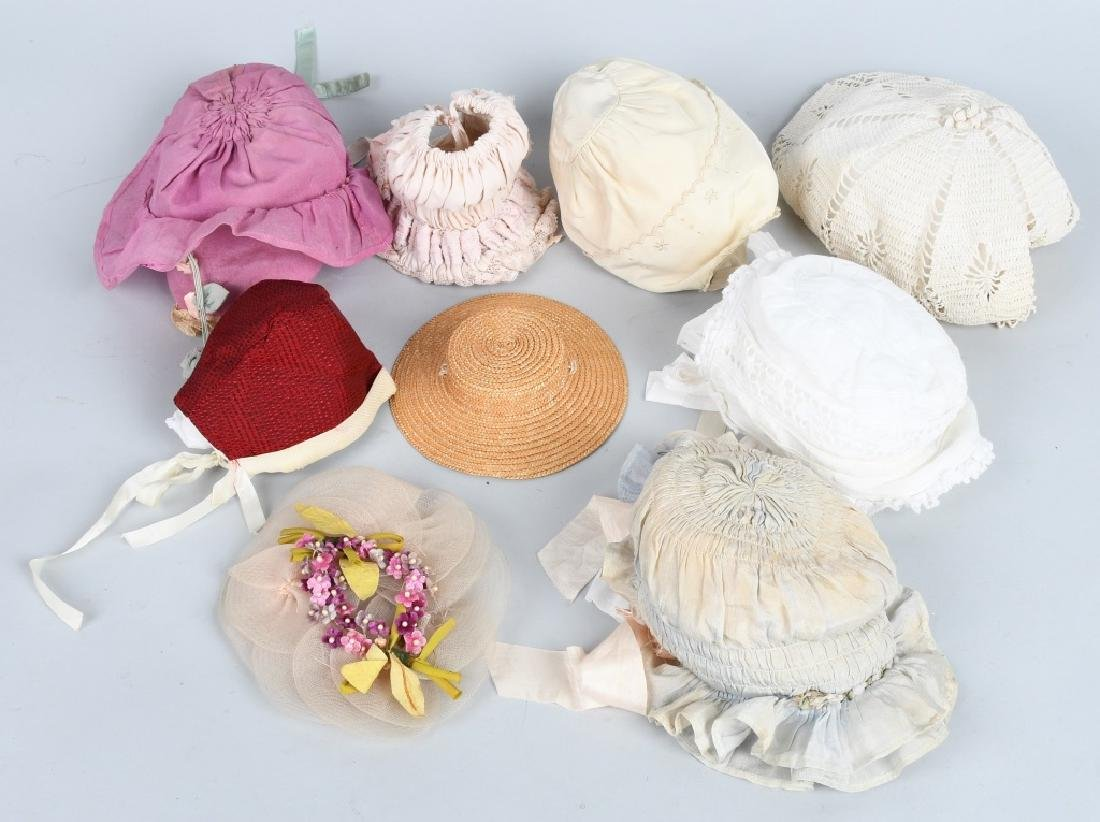 LARGE LOT VINTAGE DOLL BONNETS & HATS - 4