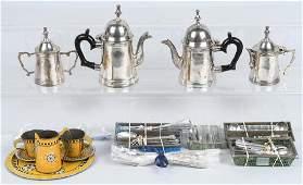 CHILDS & DOLL SILVER PLATE TEA SET & SILVERWARE