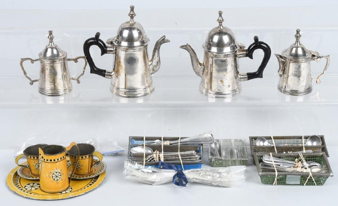CHILDS & DOLL SILVER PLATE TEA SET & SILVERWARE