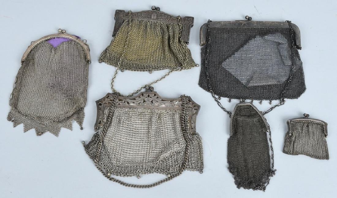 6-MESH PURSES, STERLING, GERMAN SILVER & MORE
