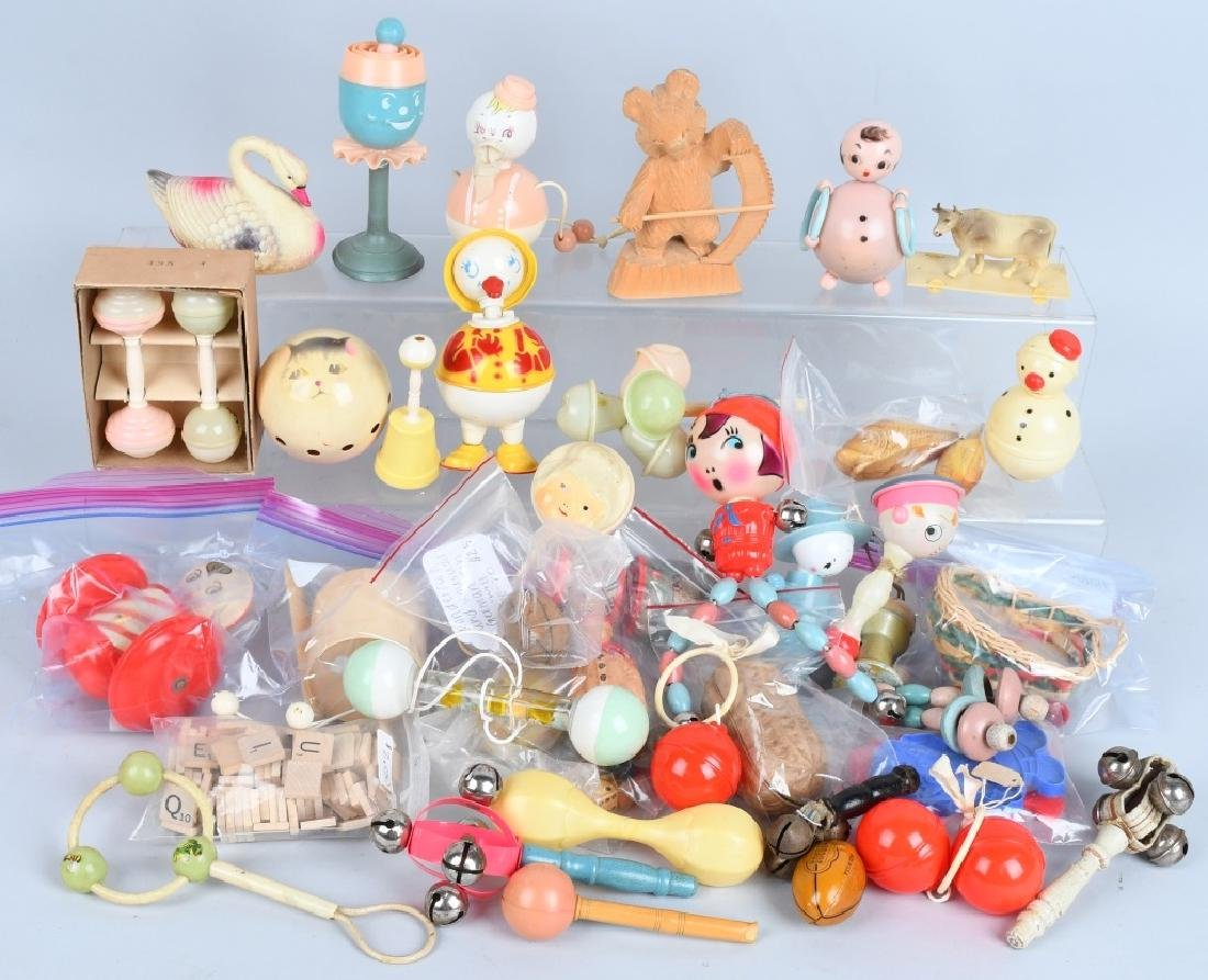 LARGE LOT CELLOID RATTLES, TOYS & MORE