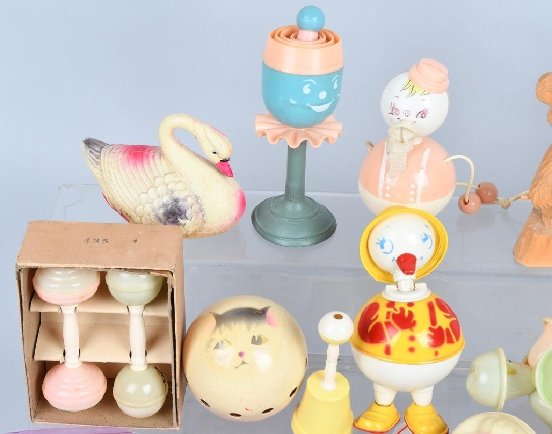 LARGE LOT CELLOID RATTLES, TOYS & MORE - 2