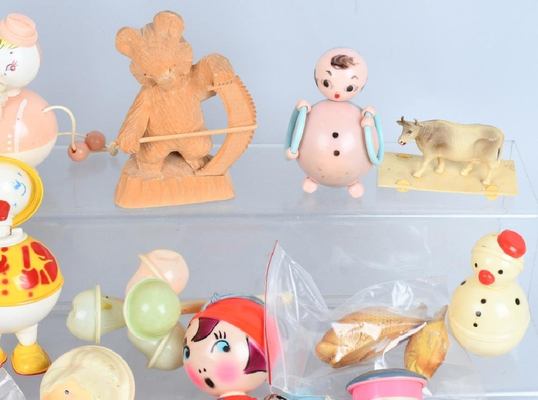 LARGE LOT CELLOID RATTLES, TOYS & MORE - 3
