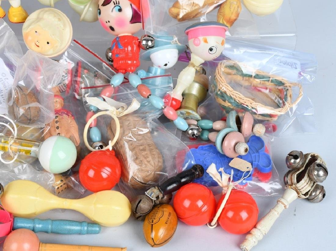 LARGE LOT CELLOID RATTLES, TOYS & MORE - 4