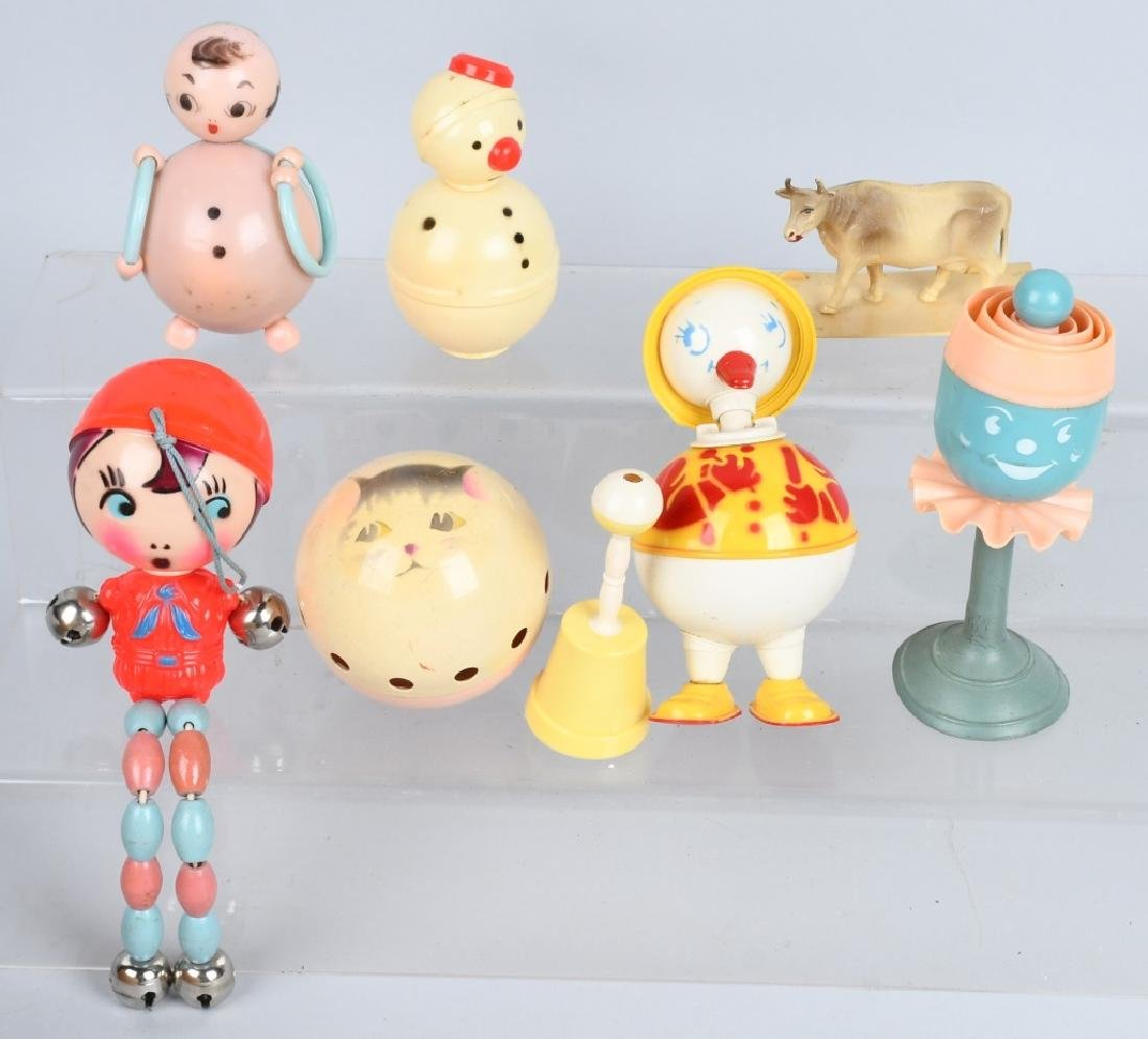 LARGE LOT CELLOID RATTLES, TOYS & MORE - 6