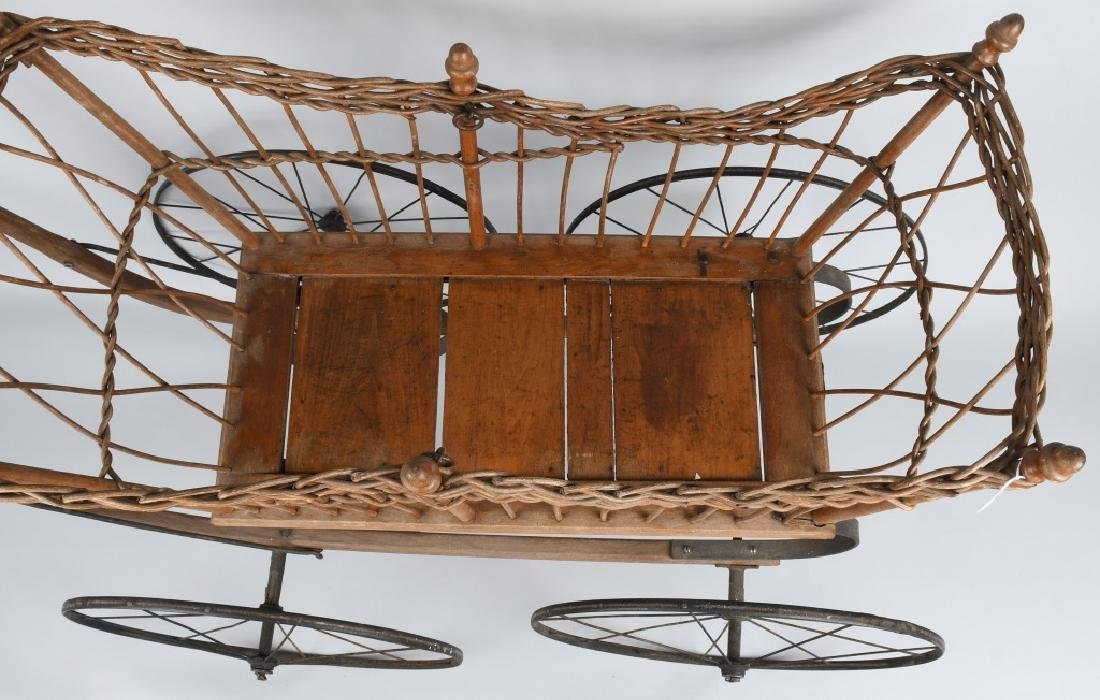 ANTIQUE WICKER BABY BUGGY - 2