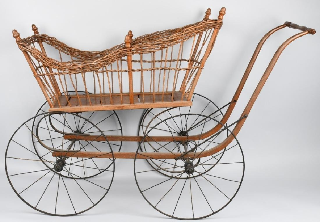 ANTIQUE WICKER BABY BUGGY - 3