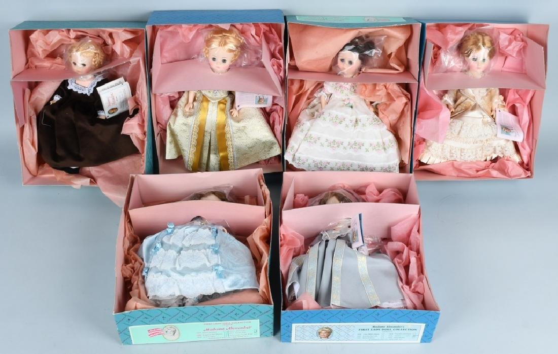SIX MADAME ALEXANDER FIRST LADY DOLL COLLECTION