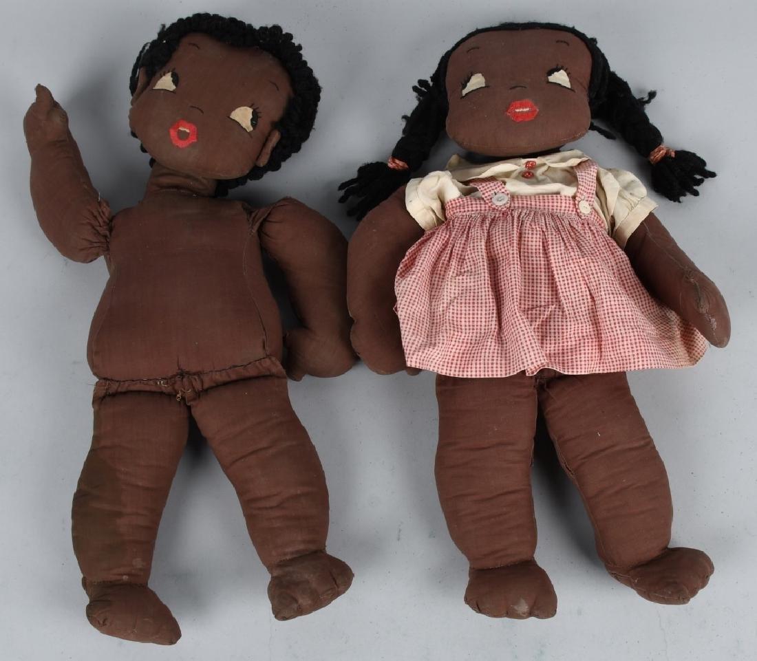 TWO BLACK AMERICANA FOLK ART CLOTH DOLLS
