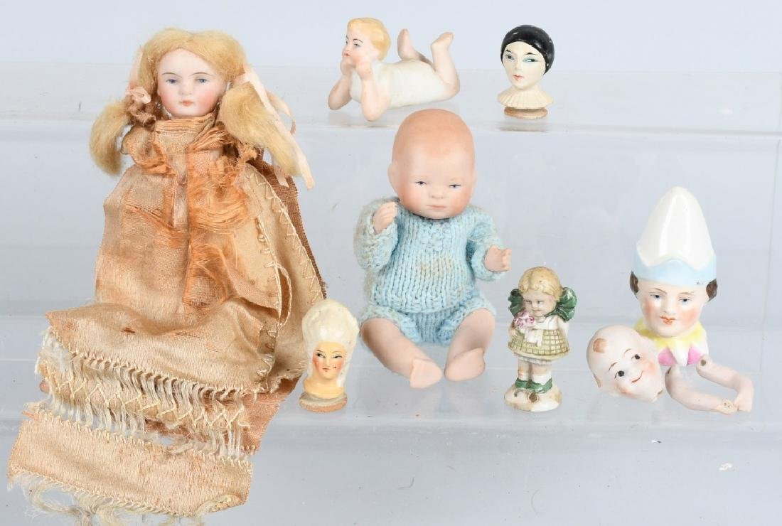 GROUPING OF TWO BISQUE DOLLS AND MORE