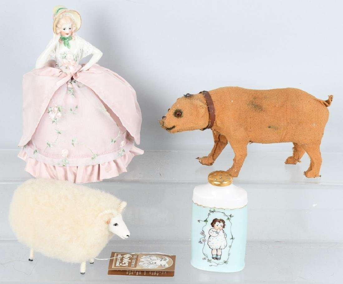 HALF DOLL, GERMAN POWDER JAR AND MORE