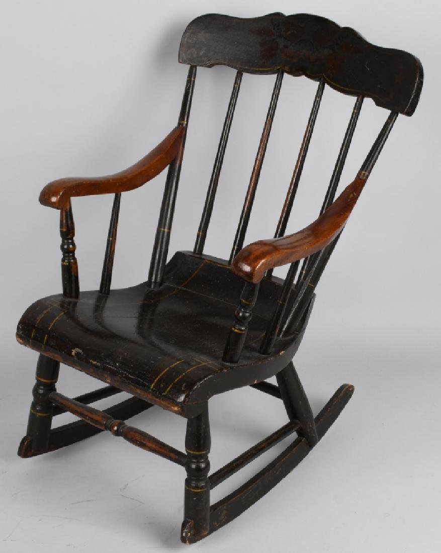 ANTIQUE CHILD's PAINTED STENCILED ROCKING CHAIR