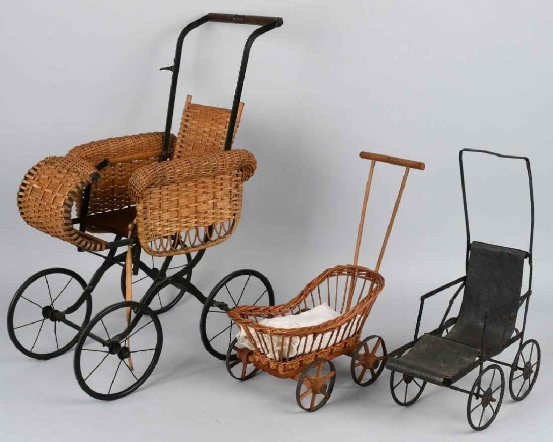 VINTAGE STROLLER AND TWO CONTEMPORARY BABY BUGGIES