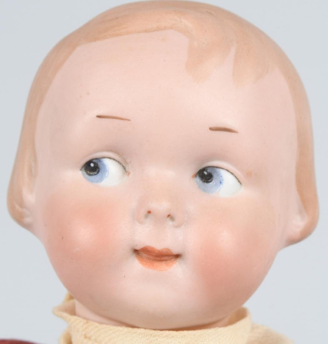 GERMAN AM GOOGLY BISQUE DOLL, MOLDED HAIR - 2