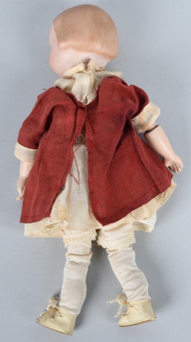 GERMAN AM GOOGLY BISQUE DOLL, MOLDED HAIR - 6