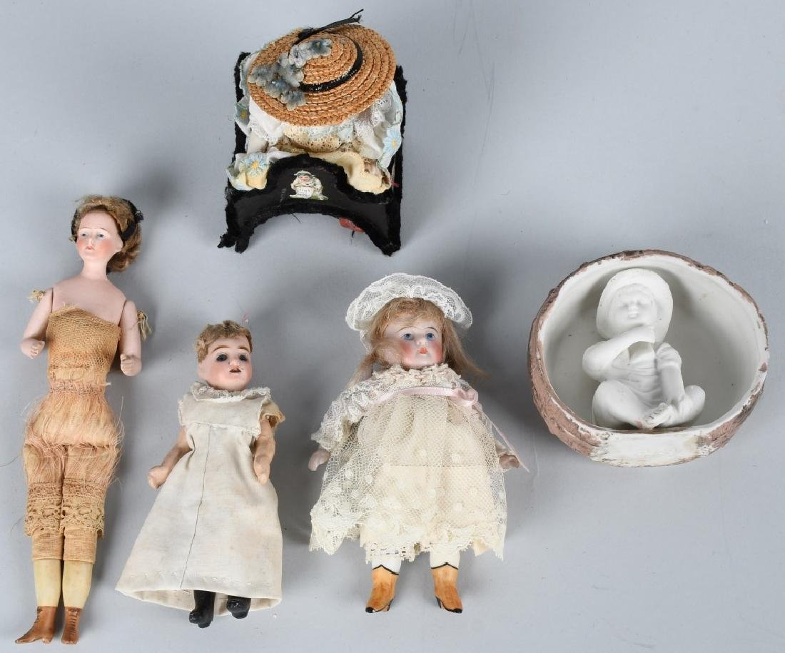 GERMAN MINIATURE BISQUE DOLLS & MORE