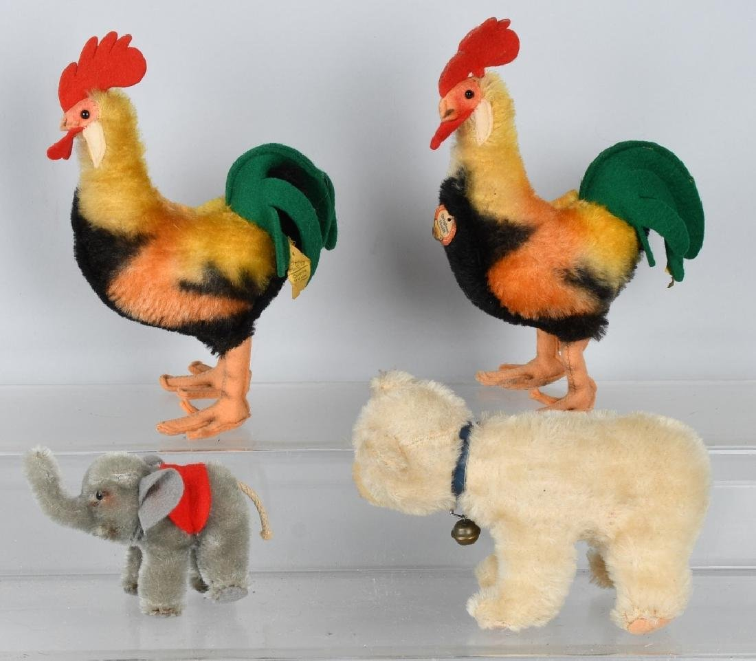 STEIFF ROOSTERS, BEAR, AND ELEPHANT