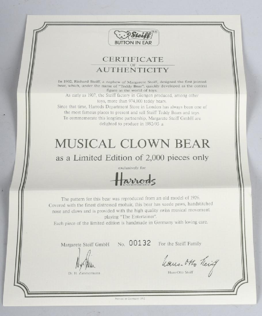 STEIFF HARRODS MUSICAL CLOWN BEAR - 3
