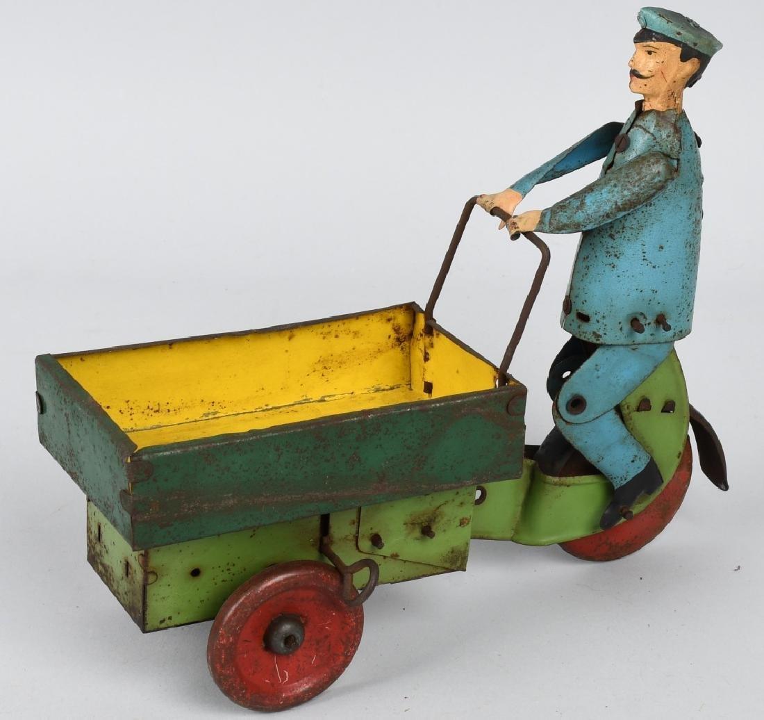 GERMAN Tin Windup PORTER WITH CART