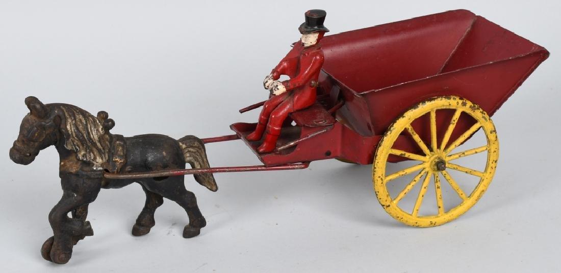 WILKINS CAST IRIN & TIN HORSE DRAWN DUMP CART