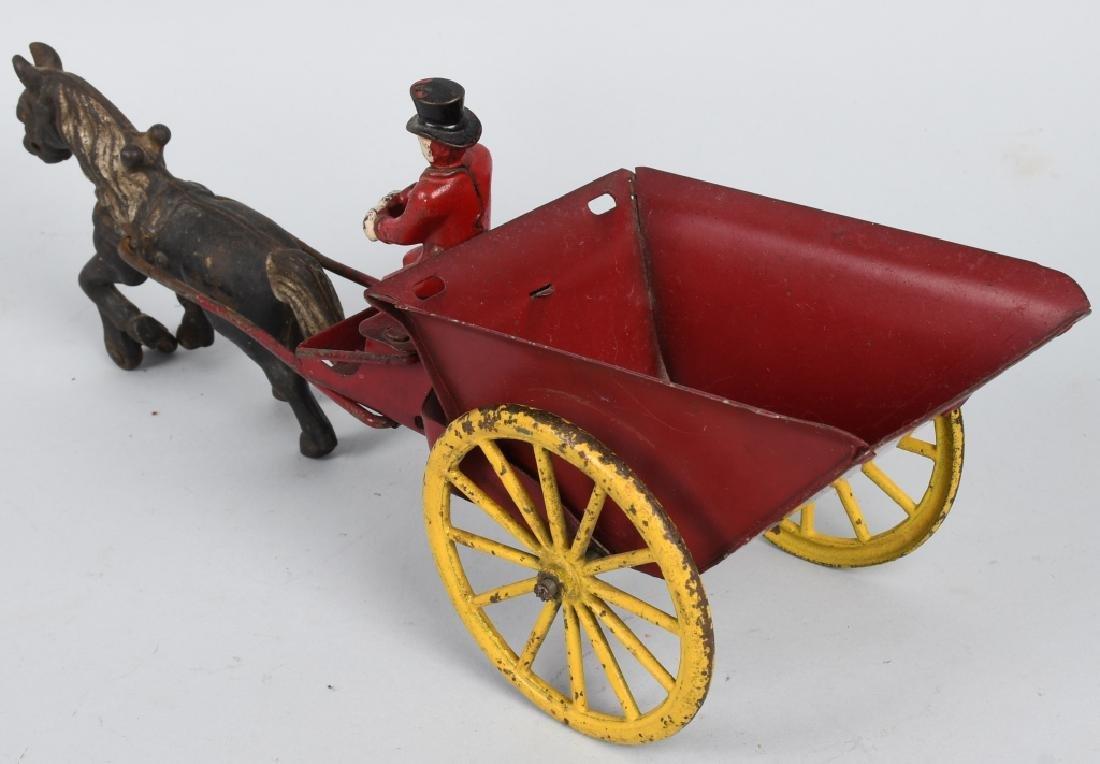 WILKINS CAST IRIN & TIN HORSE DRAWN DUMP CART - 2
