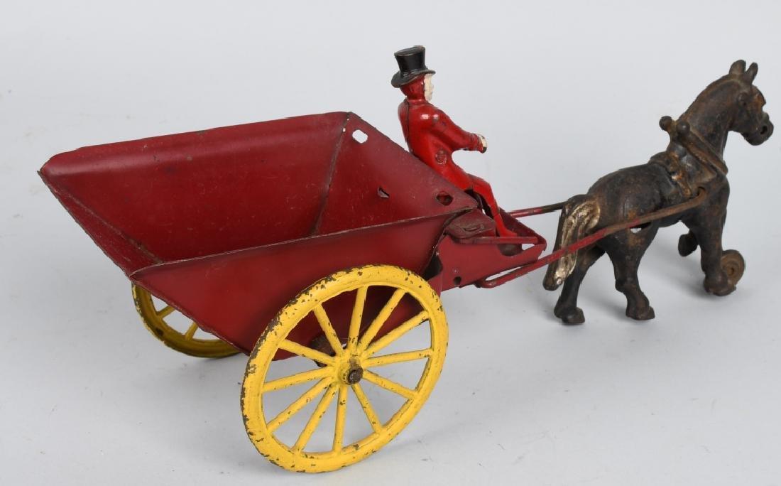 WILKINS CAST IRIN & TIN HORSE DRAWN DUMP CART - 3