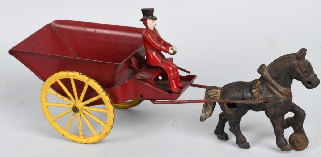 WILKINS CAST IRIN & TIN HORSE DRAWN DUMP CART - 4