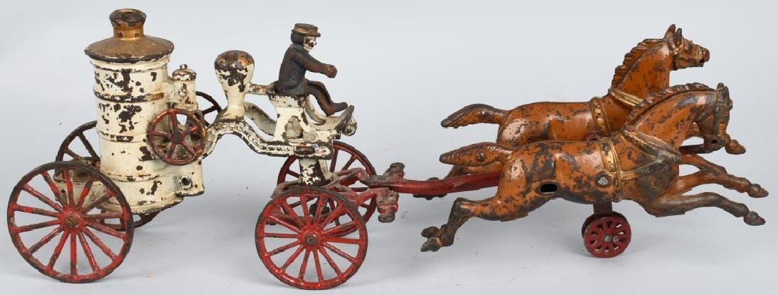 HUBLEY CAST IRON HORSE DRAWN BOILER FIRE WAGON - 6