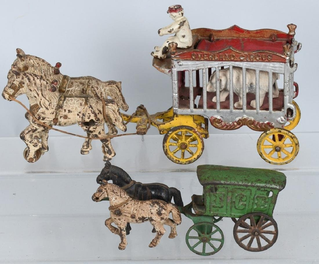2- CAST IRON HORSE DRAWN TOYS