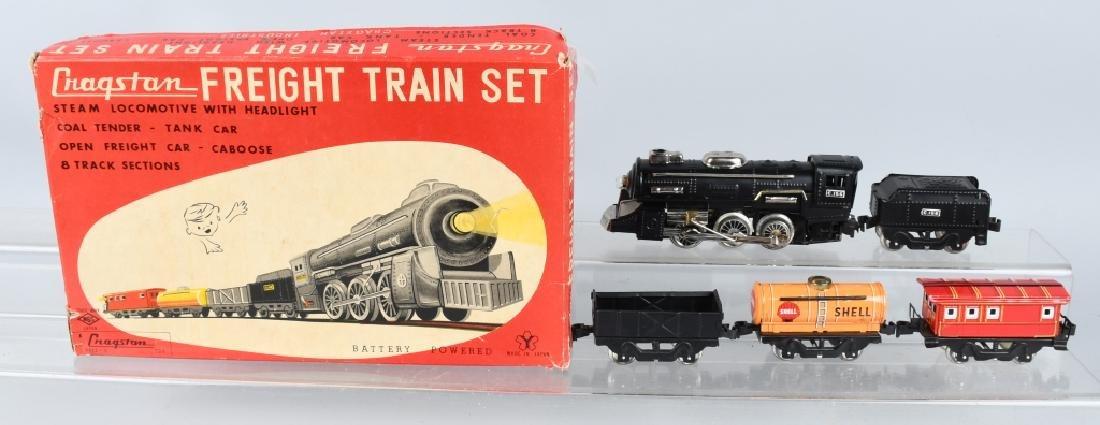 CRAGSTAN Tin Battery Op FREIGHT TRAIN SET w/ BOX