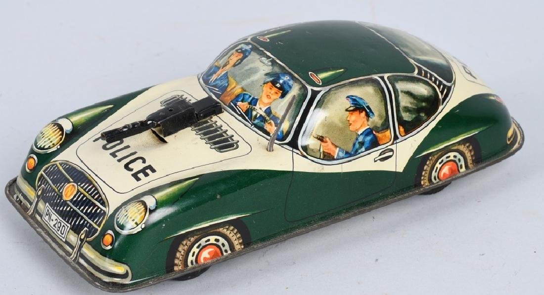 GERMAN TIN FRICTION PORSCHE POLICE CAR