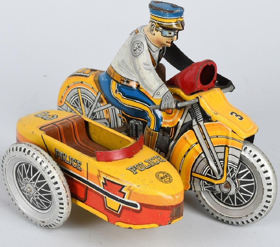 MARX Tin Windup POLICE SQUAD MOTORCYCLE w SIDECAR