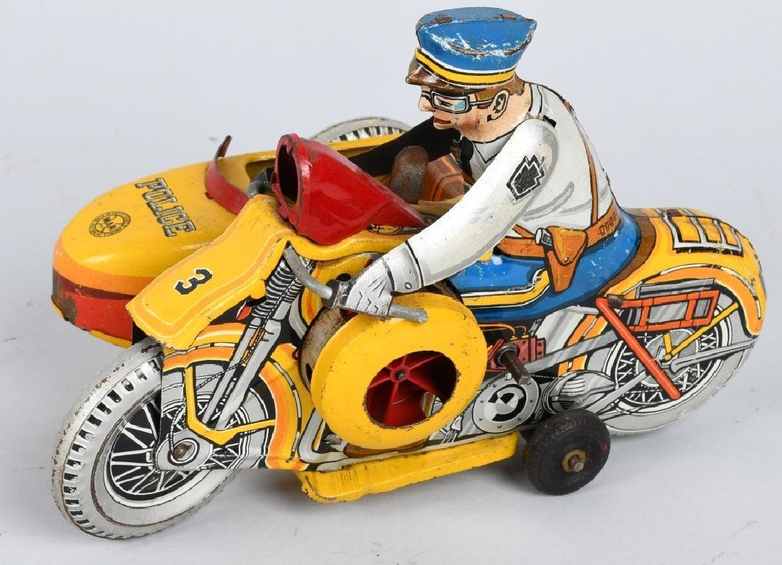 MARX Tin Windup POLICE SQUAD MOTORCYCLE w SIDECAR - 2