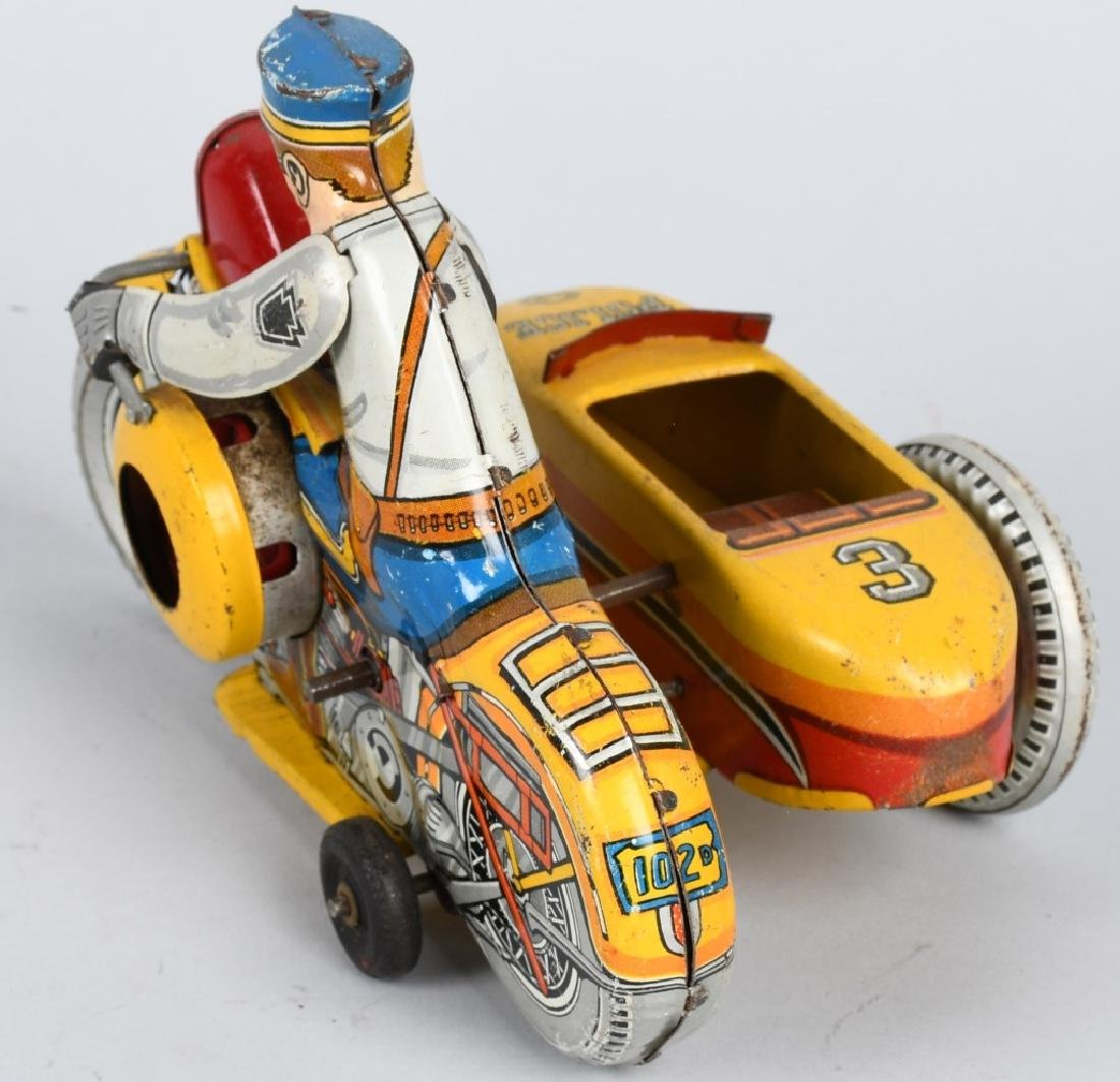 MARX Tin Windup POLICE SQUAD MOTORCYCLE w SIDECAR - 3