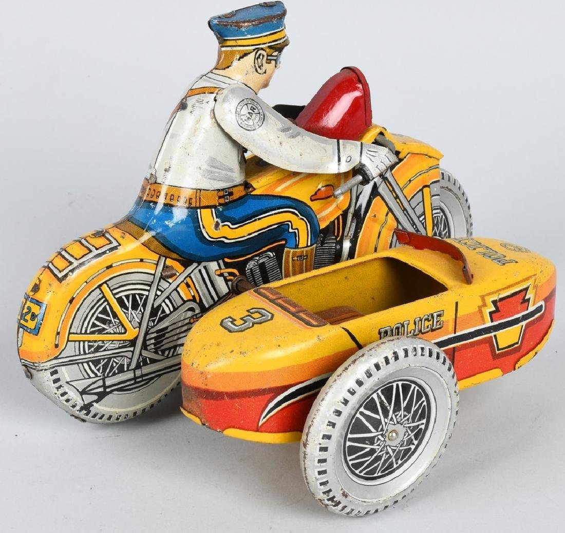 MARX Tin Windup POLICE SQUAD MOTORCYCLE w SIDECAR - 4