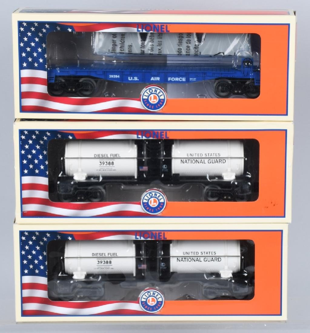 3-LIONEL MILITARY CARS BOXED