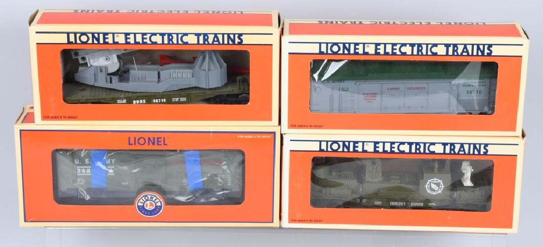 4-LIONEL MILITARY CARS BOXED