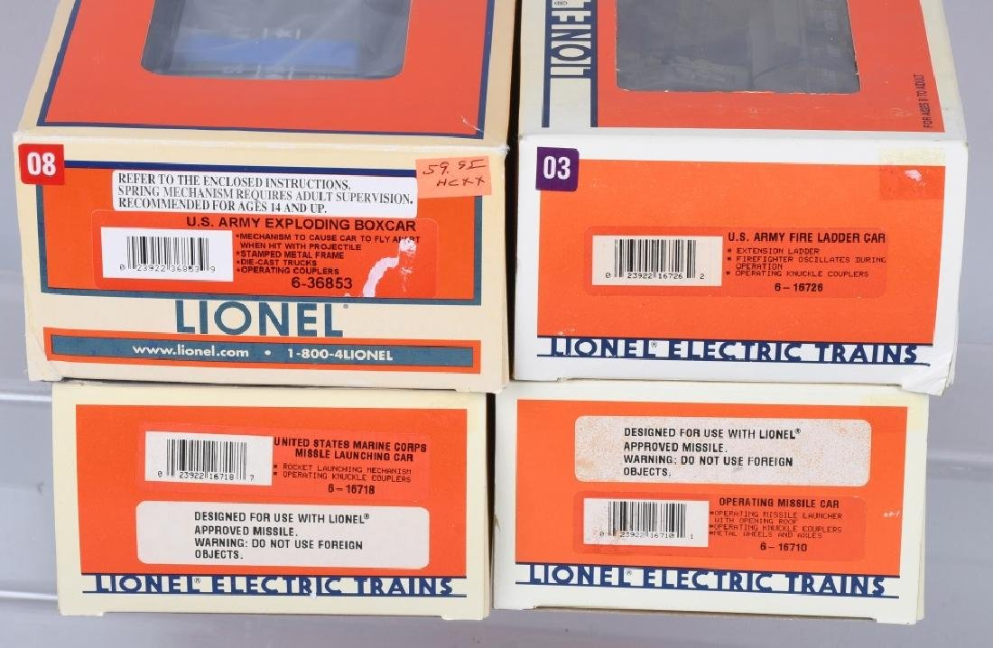 4-LIONEL MILITARY CARS BOXED - 4
