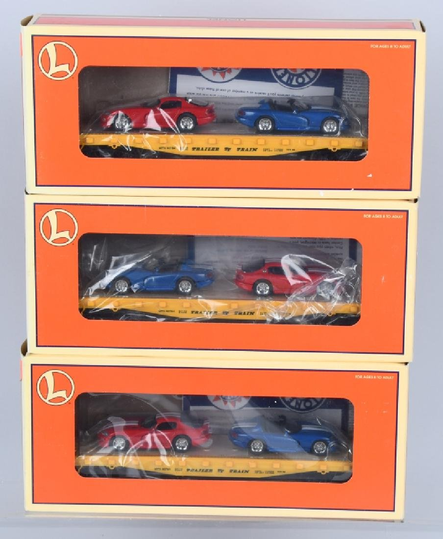 3-LIONEL FLATCARS w/ DODGE VIPERS, BOXED
