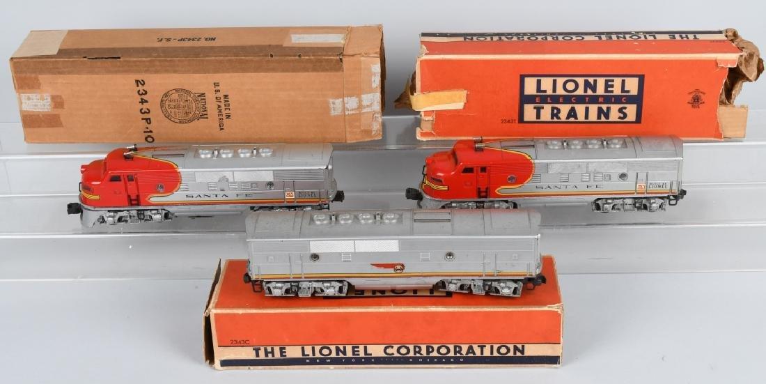 LIONEL SANTA FE, NO 2343P. 2343T & 2343C, BOXED