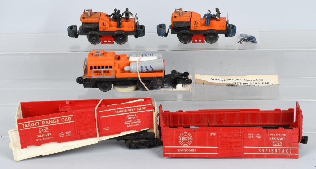 LIONEL TRACK CLEANER, GANG CARS & MORE