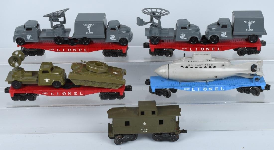 LIONEL LOT, ARMY, NAVY & USMC O GAUGE CARS